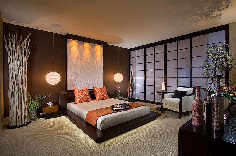 Elegantní dekorace interiéru v asijském stylu